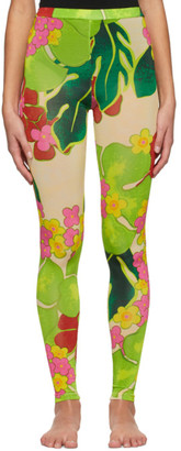 Dries Van Noten Green and Taupe Floral Leggings