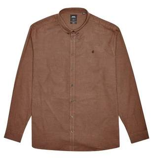 Mens Big & Tall Rust Long Sleeve Mini Gingham Oxford Shirt