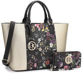 Dasein Black Floral Saffiano Satchel & Wallet