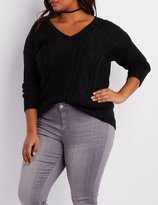 Charlotte Russe Plus Size Cable Knit V-Neck Sweater