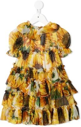 Dolce & Gabbana Kids Sunflower Print Ruffled Dress