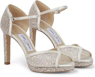 Jimmy Choo Lacia 100 glitter tulle platform sandals