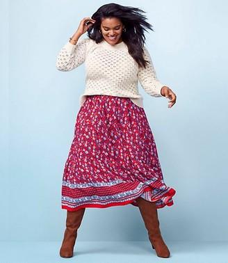 LOFT Border Floral Tiered Midi Skirt