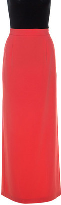 Boutique Moschino Bright Coral Crepe Maxi Skirt S