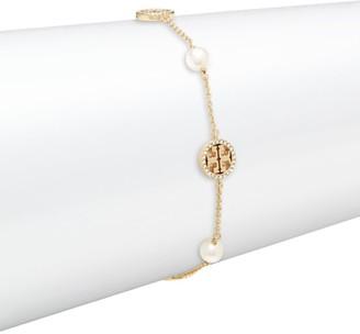 Tory Burch Crystal-Pearl Goldtone Logo Delicate Bracelet