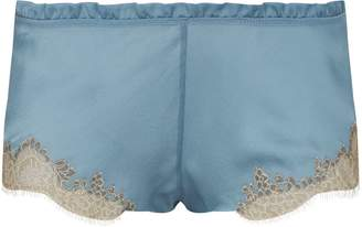 Carine Gilson Silk Lace-Trim Shorts