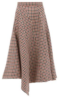 J.W.Anderson Checked Asymmetric Hem Virgin-wool Midi Skirt - Brown Multi