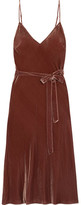 Frame Belted Velvet Midi Dress - Brown