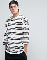 Asos Oversized 3/4 Sleeve T-Shirt With Stripe