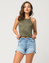 Vanilla Star Premium Cutoff Womens Denim Midi Shorts