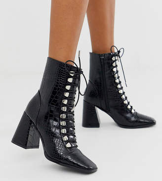 Z Code Z Z_Code_Z Exclusive Naara black croc effect lace up heeled ankle boots with square toes