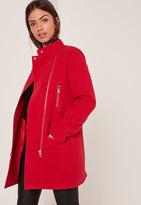 Missguided Collarless Biker Coat Red