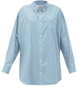 Balenciaga Back Logo-print Striped Cotton Shirt - Blue White