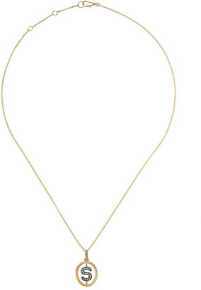 Annoushka 18kt yellow gold diamond initial S necklace