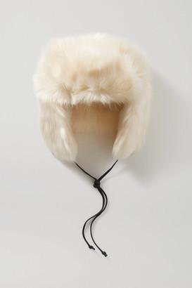 Eugenia Kim Owen Leather-trimmed Faux Fur Hat - White