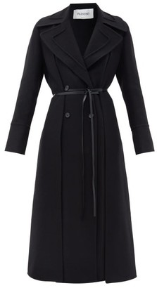 Valentino Double-breasted Layered Belted Wool Coat - Black