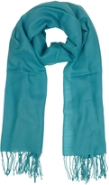 Mila Schon Turquoise Wool and Cashmere Fringed Stole