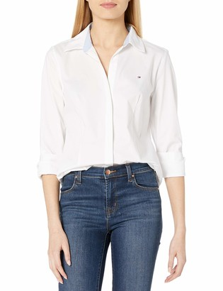 Tommy Hilfiger Women's Longsleeve Collared Cotton Suiting Shirt