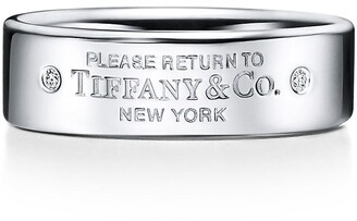 Tiffany & Co. Return to TiffanyTM narrow ring in sterling silver with diamonds, 6 mm wide