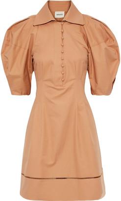 KHAITE Carlina Pleated Crochet-trimmed Cotton-twill Dress