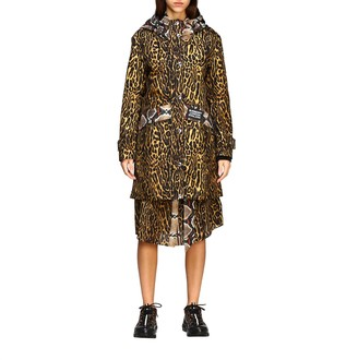 Burberry Cramond Cotton Coat With Animal Print And Check