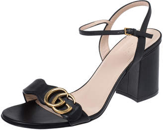 Gucci Black Leather Marmont Ankle Strap Sandals Size 39