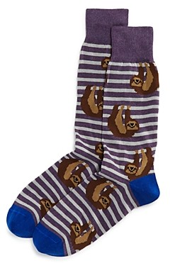 The Men's Store at Bloomingdale's Cotton-Blend Sloth Stripe Crew Socks - 100% Exclusive