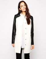 b.Young Long Lined Jacket With Contrast PU Arms