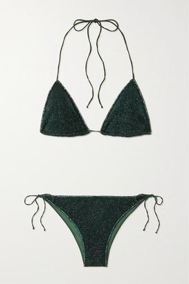 Oseree Lumiere Stretch-lurex Triangle Bikini - Emerald
