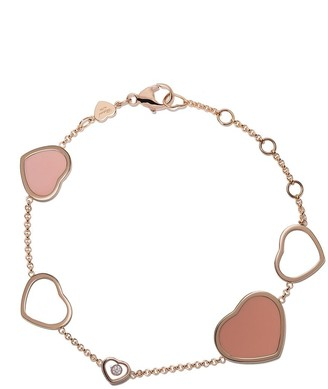 Chopard 18kt rose gold Happy Hearts rose stone and diamond bracelet