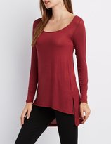 Charlotte Russe Scoop Neck High-Low Tee