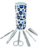 Manicure Pedicure Grooming Beauty Personal Care Travel Kit (Tweezers,Nail File,Nail Clipper,Scissors) - Thin Blue Line Police Emergency 2 Two Asterisk K-9 Unit