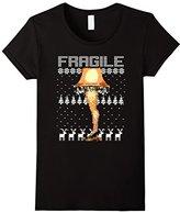 Women's Fragile Leg Lamp Funny Vintage Retro Ugly Christmas T-Shirt Large