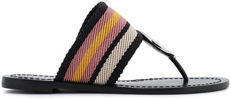 Tory Burch Embellished Striped Canvas Sandals