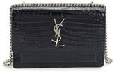 Saint Laurent Mini Monogram Sunset Croc Embossed Leather Shoulder Bag - Blue