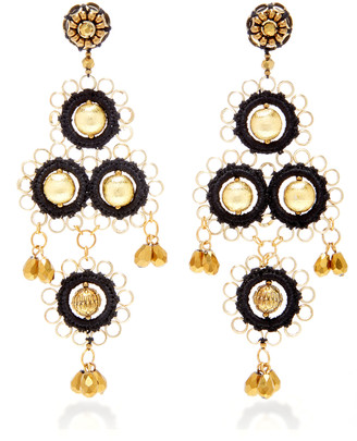 Oscar de la Renta Gold-Tone Beaded Drop Earrings