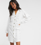 Asos Tall DESIGN Tall broderie button through shirt dress in white