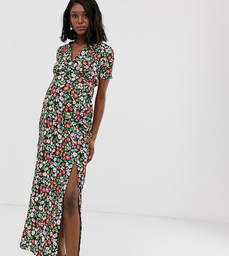 Asos DESIGN Maternity exclusive floral printed city maxi tea dress