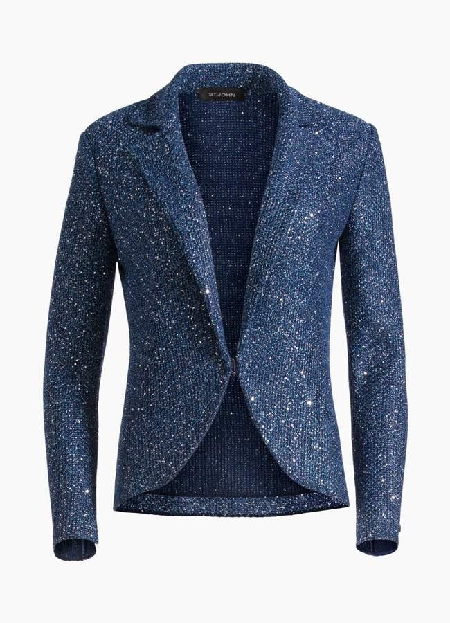 St. John Luxe Sequin Tuck Knit Jacket