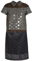 Kolor Contrast-panelled point-collar short-sleeved dress