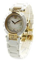 Versace Women's 92QCP11D497 S001 Reve 14k Yellow Gold Ion-Plated Watch with White Rubber Band