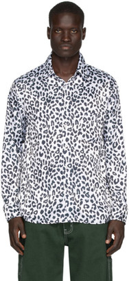 Noon Goons White and Black Charmeuse Leopard Shirt