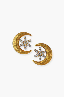 Jennifer Behr Crystal Antique Gold Callisto Stud Earrings