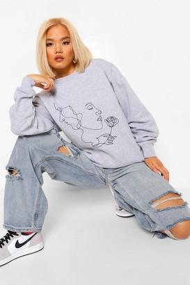 boohoo Petite Abstract Scribble Rose Print Sweatshirt
