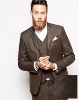 Asos Slim Suit Jacket In Herringbone