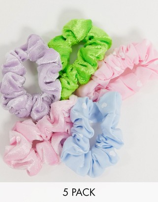 ASOS DESIGN pack of 5 skinny scrunchies with hearts and velvet