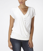 Bellino White Drape Surplice Top