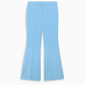 Gucci Light blue cropped flare trousers