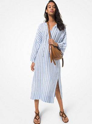 MICHAEL Michael Kors MK Striped Cotton and Linen Dress - Crew Blue - Michael Kors