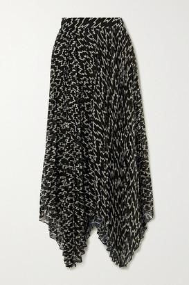 Isabel Marant Alena Asymmetric Pleated Printed Chiffon Midi Skirt - Black